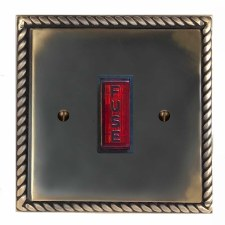 Georgian Fused Spur Connection Unit Illuminated Indicator Dark Antique Relief