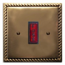 Georgian Fused Spur Connection Unit Illuminated Indicator Hand Aged Brass