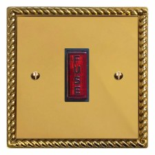 Georgian Fused Spur Connection Unit Illuminated Indicator Polished Brass Lacquered & Black Trim