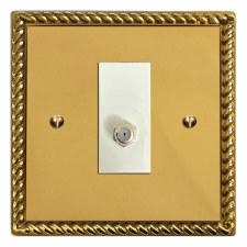 Georgian Satellite Socket Polished Brass Lacquered & White Trim