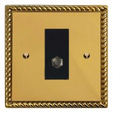 Georgian Satellite Socket Polished Brass Lacquered & Black Trim