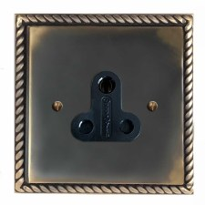 Georgian Lighting Socket Round Pin 5A Dark Antique Relief