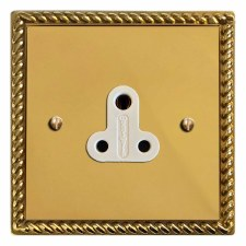 Georgian Lighting Socket Round Pin 5A Polished Brass Lacquered & White Trim