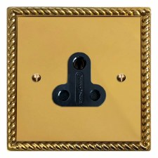 Georgian Lighting Socket Round Pin 5A Polished Brass Lacquered & Black Trim