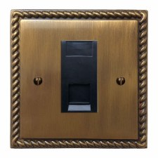 Georgian RJ45 Socket CAT 5 Antique Brass Lacquered