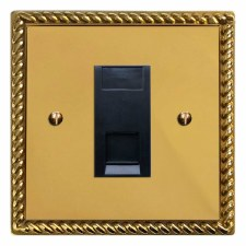 Georgian RJ45 Socket CAT 5 Polished Brass Unlacquered
