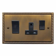 Georgian Socket & Cooker Switch Antique Brass Lacquered