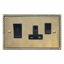Georgian Socket & Cooker Switch Antique Satin Brass