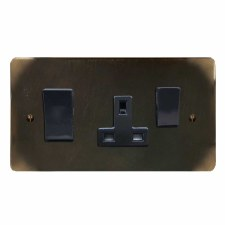 Georgian Socket & Cooker Switch Dark Antique Relief
