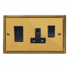 Georgian Socket & Cooker Switch Polished Brass Lacquered & Black Trim