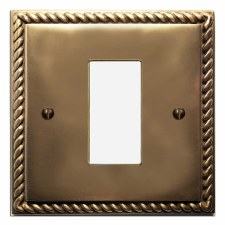 Georgian Plate for Modular Electrical Components 50x25mm Hand Aged Brass