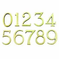 House Numbers 101mm Pin Fix Polished Brass Lacquered
