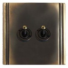Plaza Dolly Switch 2 Gang Dark Antique Relief