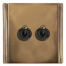 Plaza Dolly Switch 2 Gang Hand Aged Brass