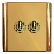 Plaza Dolly Switch 2 Gang Polished Brass Unlacquered