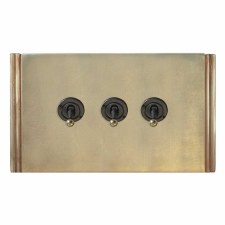 Plaza Dolly Switch 3 Gang Antique Satin Brass