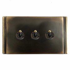 Plaza Dolly Switch 3 Gang Dark Antique Relief