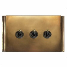 Plaza Dolly Switch 3 Gang Hand Aged Brass