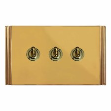 Plaza Dolly Switch 3 Gang Polished Brass Unlacquered