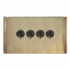 Plaza Dolly Switch 4 Gang Antique Satin Brass