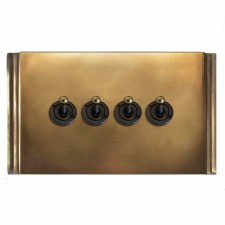 Plaza Dolly Switch 4 Gang Hand Aged Brass