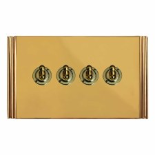 Plaza Dolly Switch 4 Gang Polished Brass Unlacquered