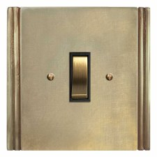 Plaza Rocker Light Switch 1 Gang Antique Satin Brass