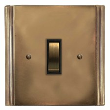 Plaza Rocker Switch 1 Gang Hand Aged Brass