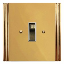 Plaza Rocker Switch 1 Gang Polished Brass Lacquered & White Trim