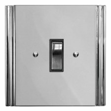 Plaza Rocker Light Switch 1 Gang Polished Chrome & Black Trim