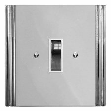 Plaza Rocker Light Switch 1 Gang Polished Chrome & White Trim