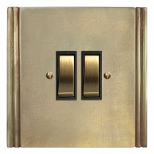 Plaza Rocker Light Switch 2 Gang Antique Satin Brass