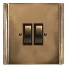 Plaza Rocker Switch 2 Gang Hand Aged Brass
