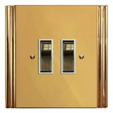Plaza Rocker Switch 2 Gang Polished Brass Lacquered & White Trim