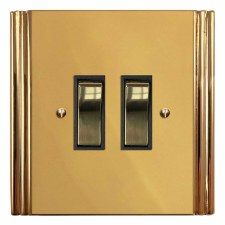 Plaza Rocker Light Switch 2 Gang Polished Brass Unlacquered