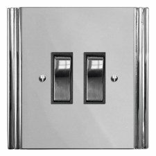 Plaza Rocker Light Switch 2 Gang Polished Chrome & Black Trim