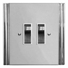 Plaza Rocker Light Switch 2 Gang Polished Chrome & White Trim