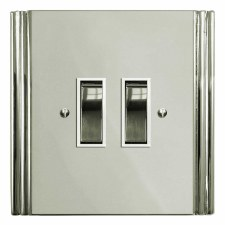 Plaza Rocker Light Switch 2 Gang Polished Nickel