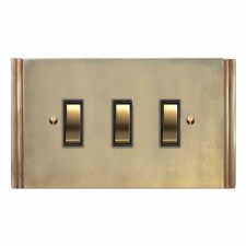 Plaza Rocker Switch 3 Gang Antique Satin Brass