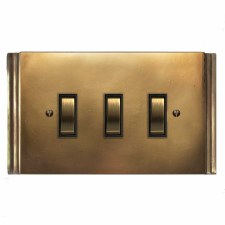 Plaza Rocker Switch 3 Gang Hand Aged Brass