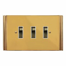 Plaza Rocker Switch 3 Gang Polished Brass Lacquered & White Trim
