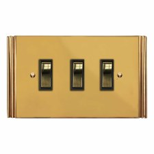Plaza Rocker Light Switch 3 Gang Polished Brass Unlacquered