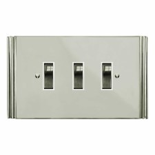 Plaza Rocker Light Switch 3 Gang Polished Nickel
