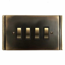 Plaza Rocker Switch 4 Gang Dark Antique Relief