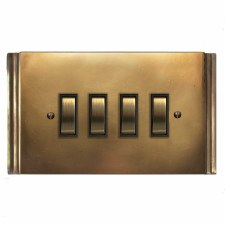 Plaza Rocker Switch 4 Gang Hand Aged Brass