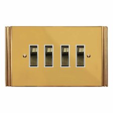 Plaza Rocker Light Switch 4 Gang Polished Brass Lacquered & White Trim