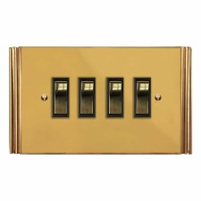 Plaza Rocker Light Switch 4 Gang Polished Brass Unlacquered