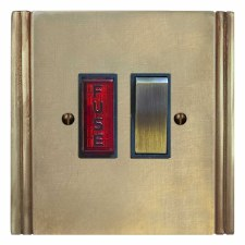 Plaza Switched Fused Spur Illuminated Antique Satin Brass