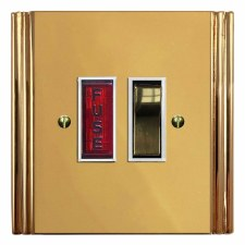 Plaza Switched Fused Spur Illuminated Polished Brass Lacquered & White Trim