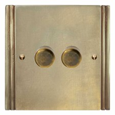 Plaza Dimmer Switch 2 Gang Antique Satin Brass